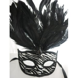 White Tiger Venetian Mask Feather Masquerade Female